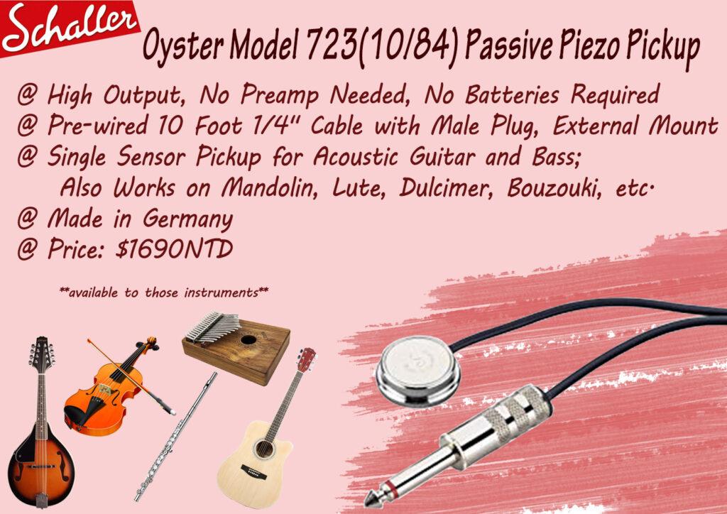 Schaller Oyster Model 723(10/84) Passive Piezo Pickup
